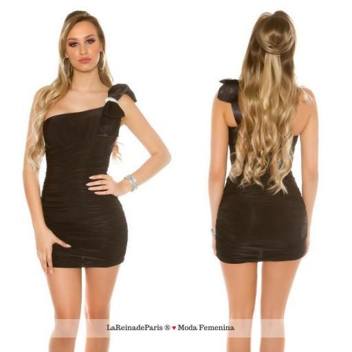 Mini vestido negro ajustado elegante [0]