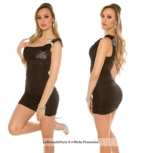 Mini vestido negro ajustado elegante [2]