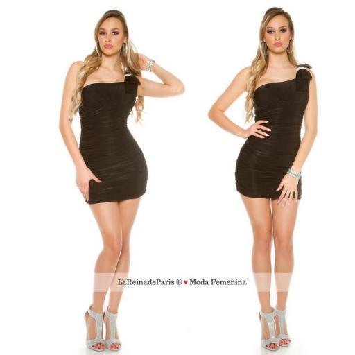 Mini vestido negro ajustado elegante [3]
