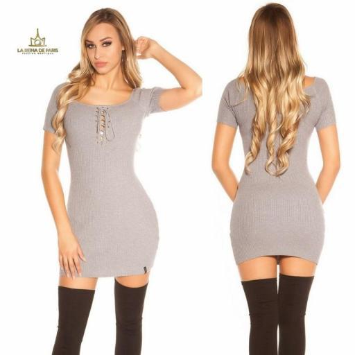 Mini vestido de punto acanalado gris