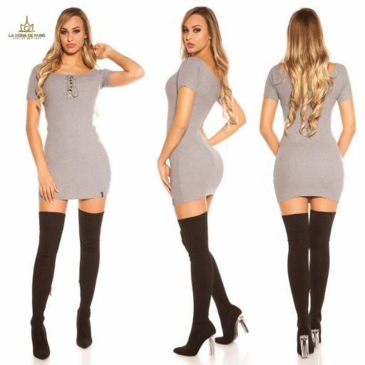 Mini vestido de punto acanalado gris [1]