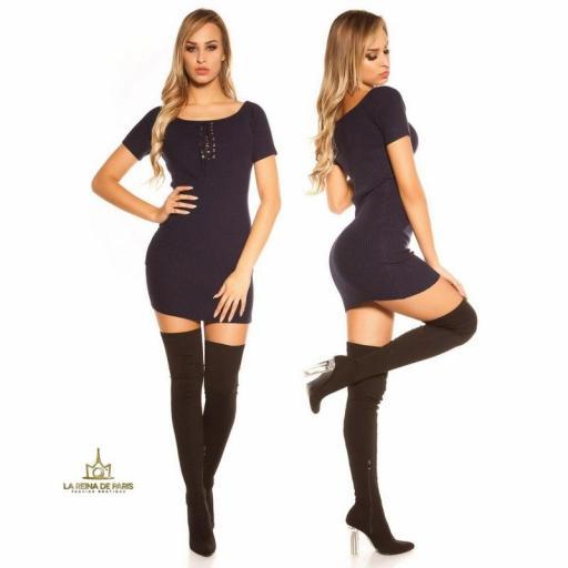 Mini vestido de punto acanalado azul [2]