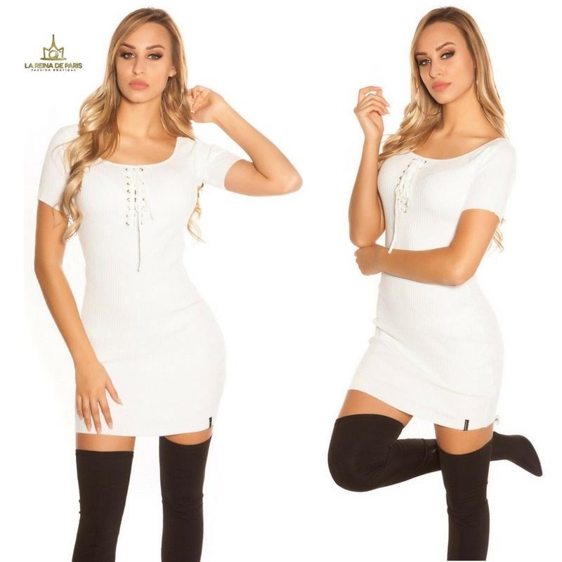 Mini vestido de punto acanalado blanco