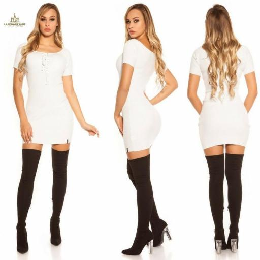 Mini vestido de punto acanalado blanco [1]