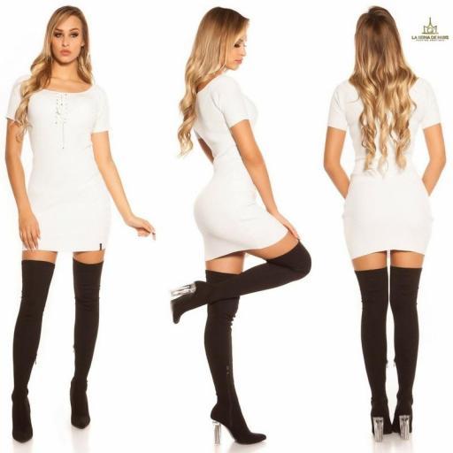 Mini vestido de punto acanalado blanco [2]
