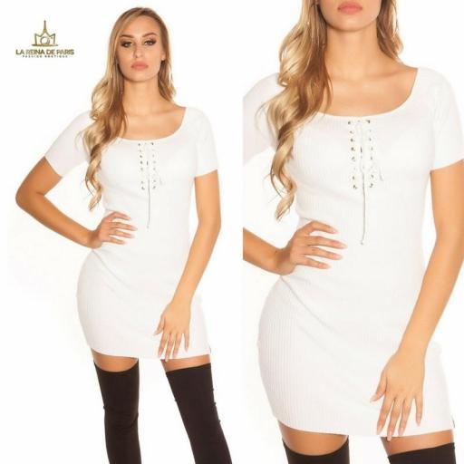 Mini vestido de punto acanalado blanco [3]