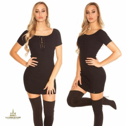 Mini vestido de punto acanalado negro [1]