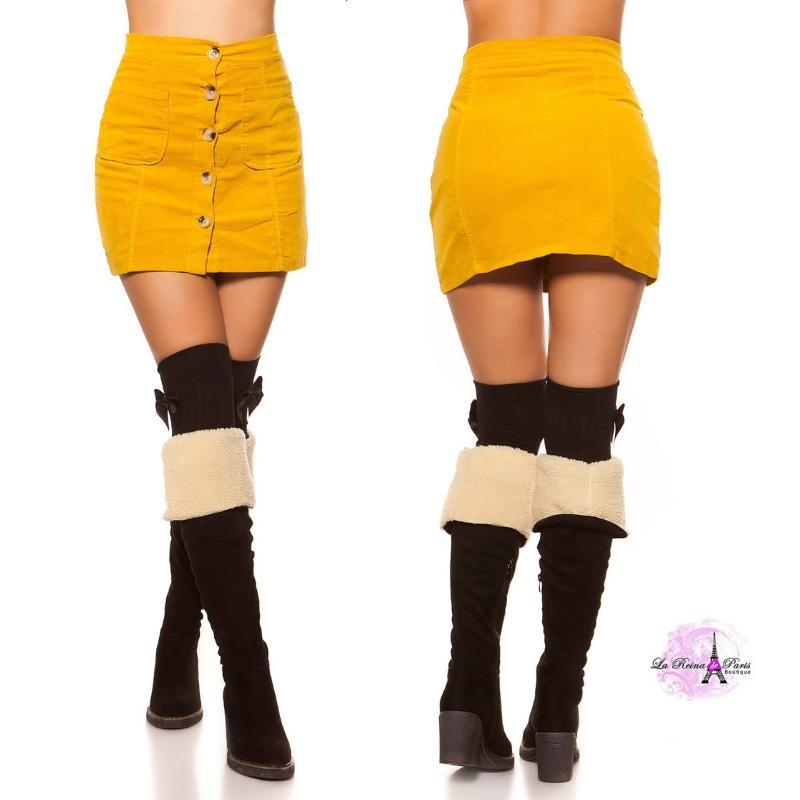 Mini falda de pana mostaza