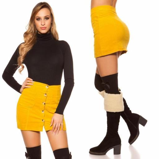 Mini falda de pana mostaza [2]