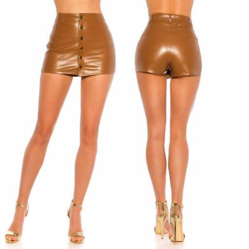 Minifalda efecto piel marrón