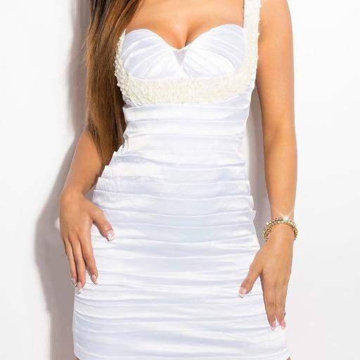 Vestido blanco de cóctel Brillante