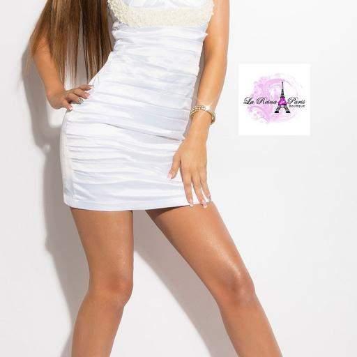 Vestido blanco de cóctel Brillante [2]