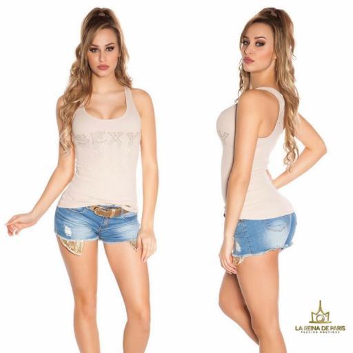 Camiseta sexy con cremallera beige [1]