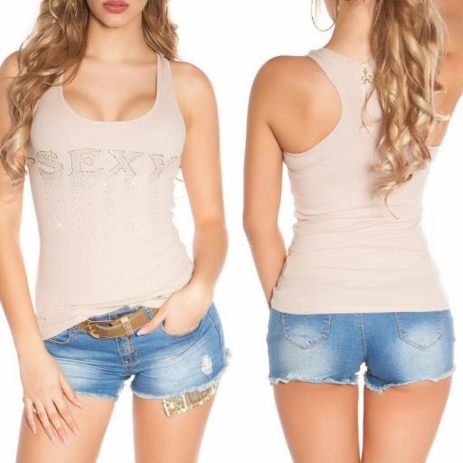 Camiseta sexy con cremallera beige [3]