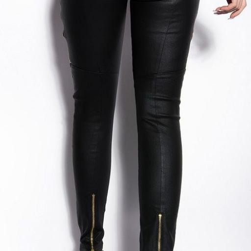 Pantalones ceñidos mujer cuero visión [2]