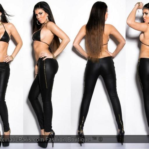 Pantalones ceñidos mujer cuero visión