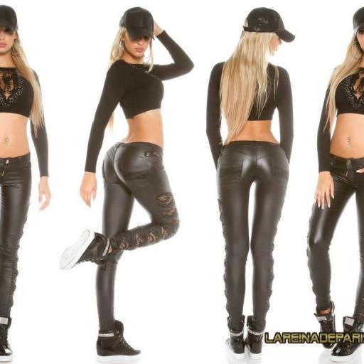 Pantalón de cuero moda negro con encaje [2]