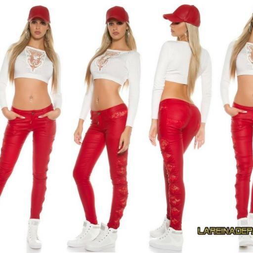 Pantalón ajustado cuero rojo con encaje [2]