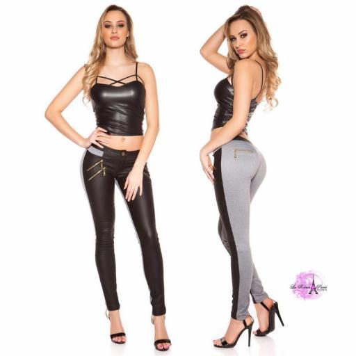 Pantalón de moda bicolor negro y gris [3]