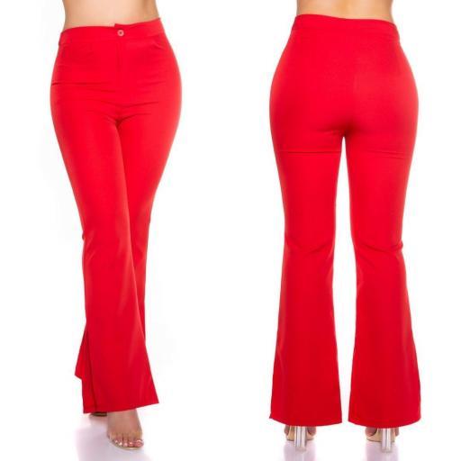 Pantalón bootcut rojo