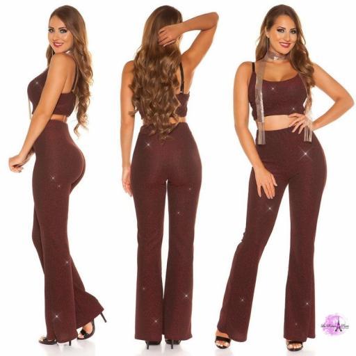 Pantalones brillantes burdeos