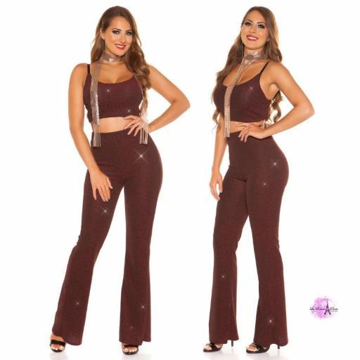 Pantalones brillantes burdeos [2]