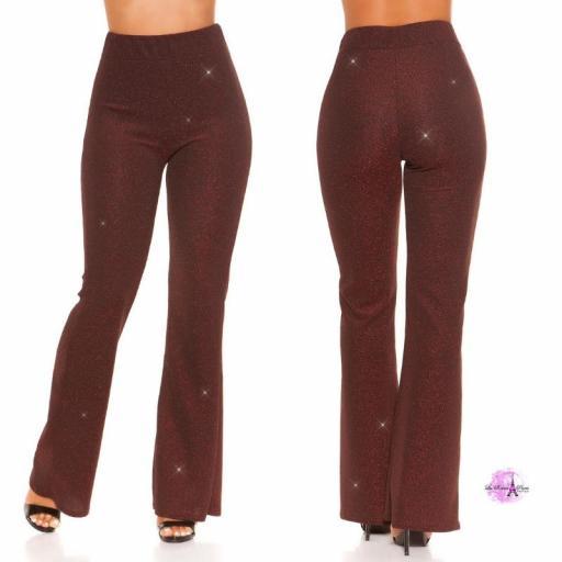 Pantalones brillantes burdeos [3]
