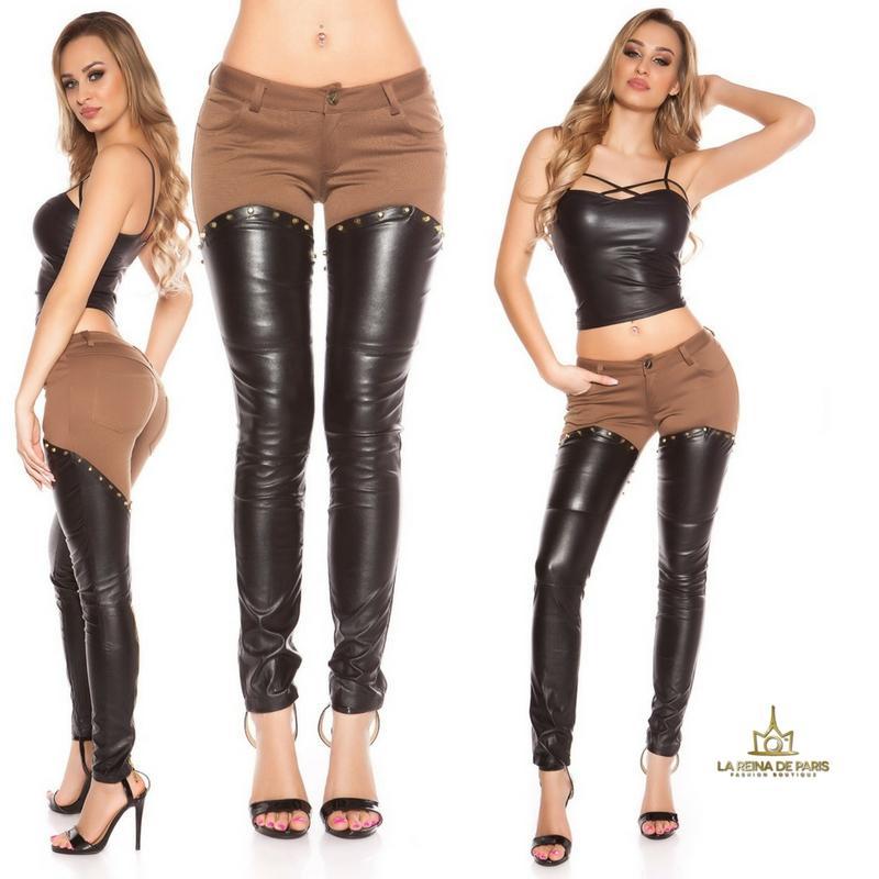 Pantalones capuchino efecto cuero sexy