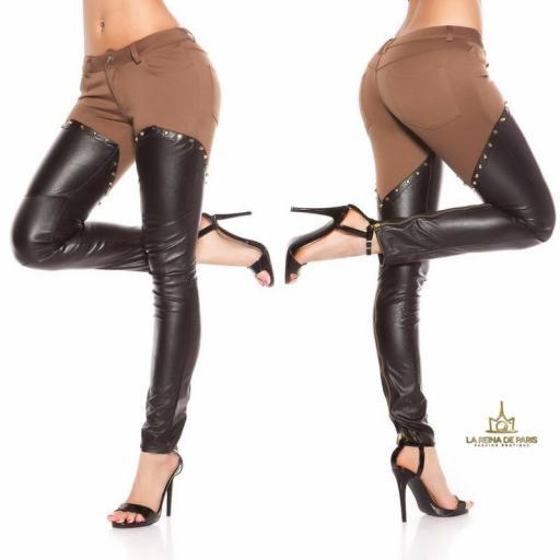 Pantalones capuchino efecto cuero sexy  [2]