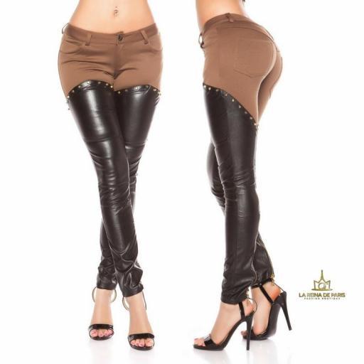 Pantalones capuchino efecto cuero sexy  [3]