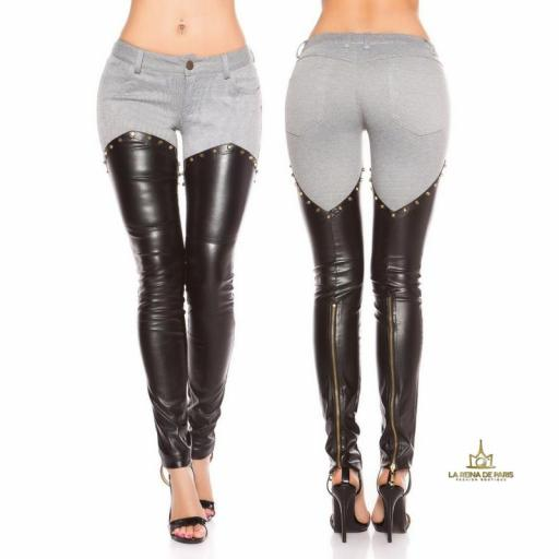 Pantalones gris con cueto st negro [1]