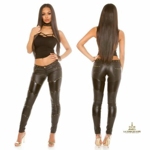 Sexy pantalones de aspecto de cuero  [2]