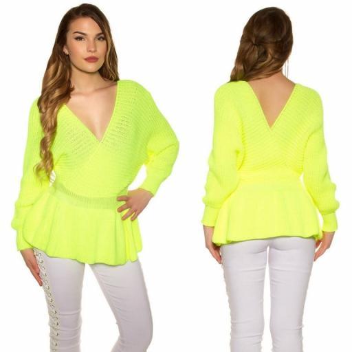 Suéter con péplum amarillo neón