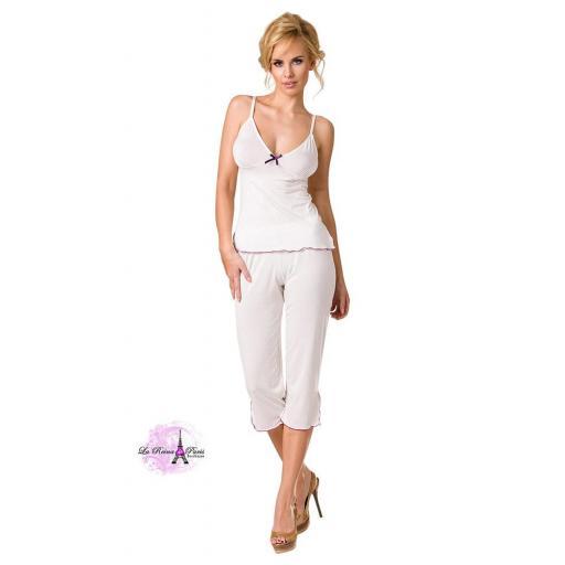 Conjunto pijama de mujer blanco crudo [1]