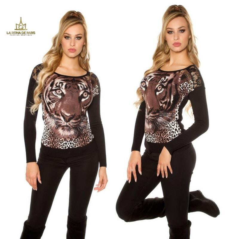 Pullover de moda animal print