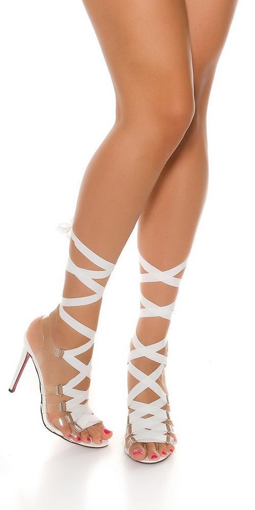 Sandalias blancas de tacón alto Bondage