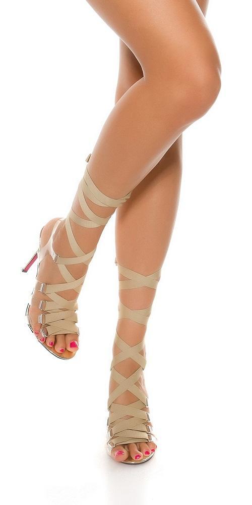 Sandalias oro de tacón alto Bondage