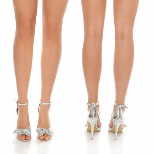 Sandalia plateadas brillante estilo  [2]