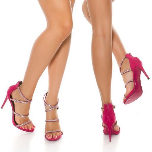 Sandalias brillantes de tacón 11,5 cm