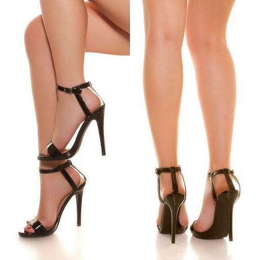 Sandalias negras tacón de 13 cm [1]