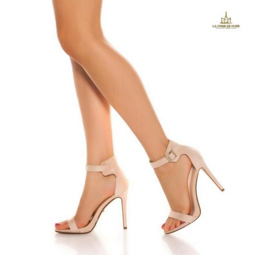 Sandalias de tacón 12cm con tiras beige [2]
