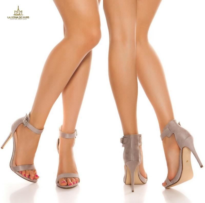 Sandalias de tacón 12cm con tiras gris