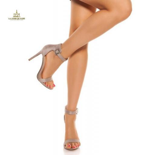 Sandalias de tacón 12cm con tiras gris [1]