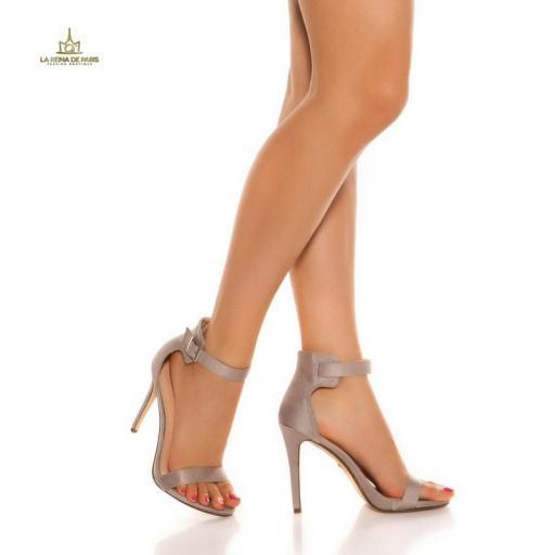 Sandalias de tacón 12cm con tiras gris [2]