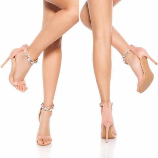 Sandalias tacones altos sexy rosa