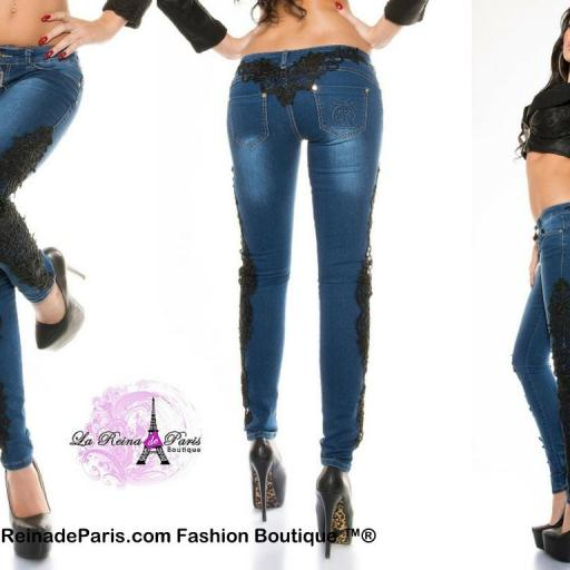 Jeans pitillo con encaje Luzma [2]