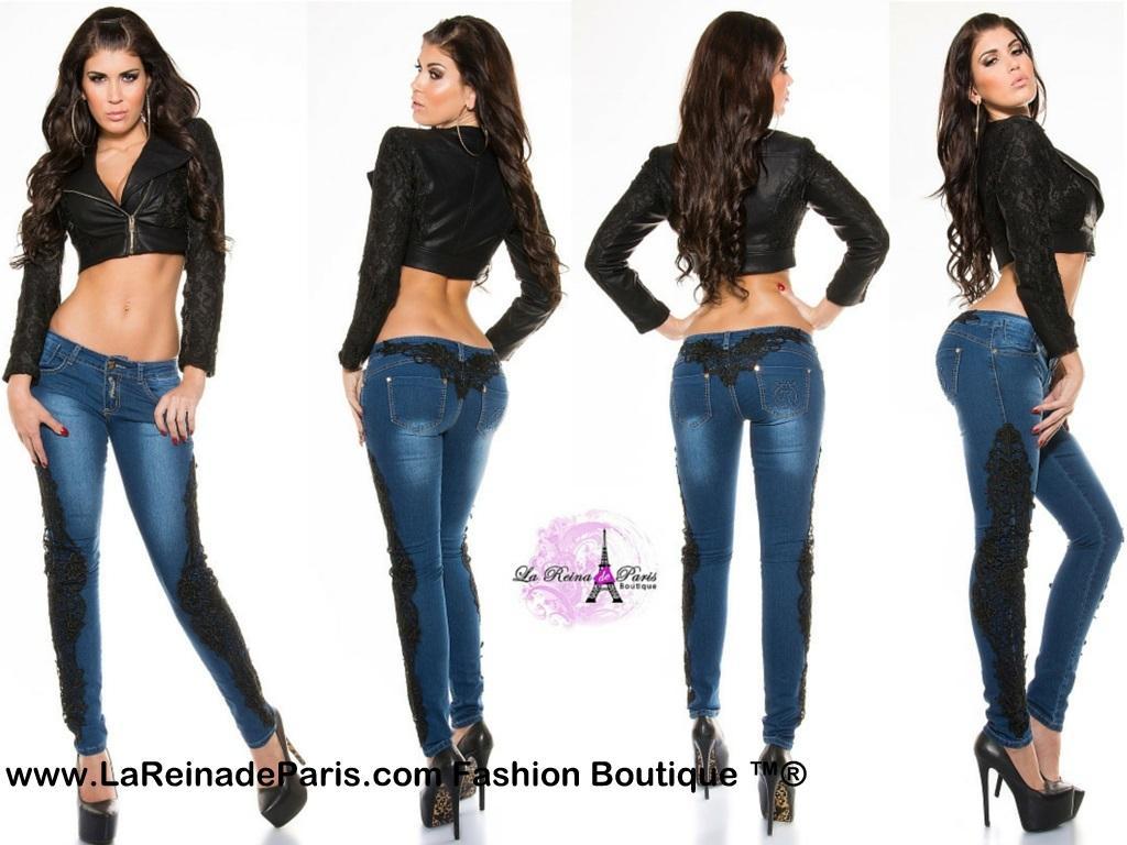 Jeans pitillo con encaje Luzma