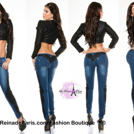 Jeans pitillo con encaje Luzma [0]