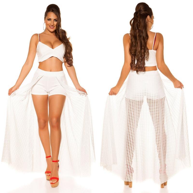 Short blanco con falda larga de red