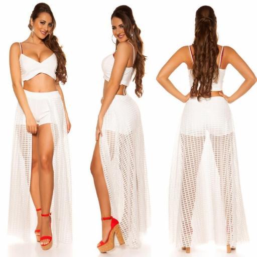 Short blanco con falda larga de red [3]